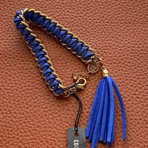 Coco + Carmen Bracelet Braided Blue and Gold Tone